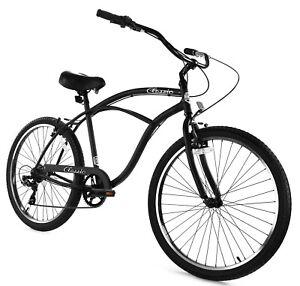 Zycle Fix Classic Beach Cruiser Men 7 Speed Bicycle Bike Black Matte NEW