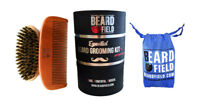 Beard Brush 100% Boar Bristle + Beard Comb Kit for Men | BeardField