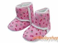 Baby Toddler Pink Flower Girl Boots Shoes Snow Slippers Warm Snug 6-12m NEW