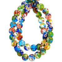G3569 Assorted Color Mosaic 10mm Flat Round Millefiori Flower Glass Beads 13""