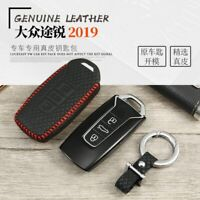 Leather Key Cover Car Key Fob Bag Case for Volkswagen VW Touareg 2018 2019