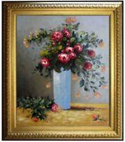 Framed Oil Painting Repro Renoir Pierre-Auguste Roses & Jasmine in Vase 20x24in