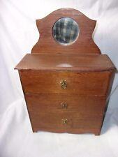 Antique Wood Doll Dresser w/ mirror and 3 Drawers Folk Art Primitive