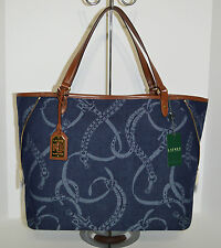 1f0026bef2 Lauren Ralph Lauren Peyton Large Denim Tote Bag Purse Brand New With Tag
