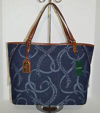 Lauren Ralph Lauren Peyton Large Denim Tote/Bag/Purse Brand New With Tag