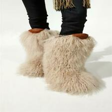 Occident Women real fur mid-calf snow boots Winter Chic warm non-slip shoes sz
