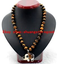 New 8mm Natural Yellow Tiger's Eye Gemstone Elephant Pendants Necklace 18'' AAA
