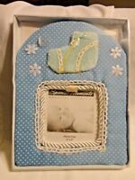 Special Moments Memories Blue Fabric Baby Boy 8X6 Picture Frame Holds 4X4 Photo
