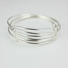 10X Expandable Silver Bangle Bracelet Wire Wrapped Adjustable Bulk Gift New
