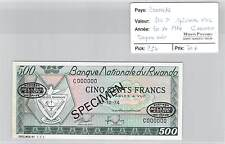 BILLET RWANDA - 500 F - SPECIMEN n°002 COOOOOO - 30.10.1974 - TAMPON NOIR