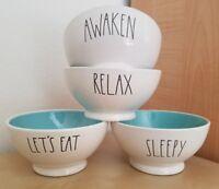 NEW LIMITEDEDITION Rae Dunn LET'S EAT AWAKEN SLEEPY RELAX Teal Blue Inside Bowls