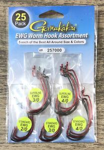 25 Pack GAMAKATSU EWG Worm Hook Assortment 257000 5 Each Best Size & Color