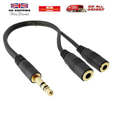 GOLD 3.5mm Jack Headphone Splitter Cable 3.5 Lead 2 Way Y Style