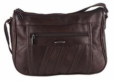 Ladies Women Real Leather Handbag Dark Brown Soft Crossbody Shoulder Bag 3796