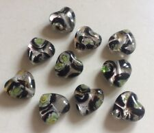 Black Coloured Puffy Heart Shaped Silver Foil Glass Beads Size 16x15mm.