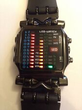Led Binary Digital Watch Mens Fashion Casual Sport Wrist Watches Black UK SL col