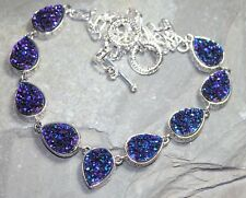 Silver Vintage Style Royal Blue Rainbow Titanium Druzy Teardrop Necklace WN10709