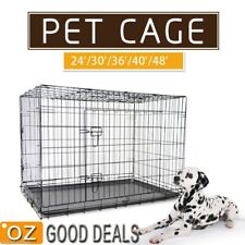"""New 24""""30""""36""""42""""48"""" Large Foldable Metal Pet Puppy Dog Crate Cage Divider Kennel"""