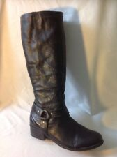 F&F Black Knee High Leather Boots Size 6