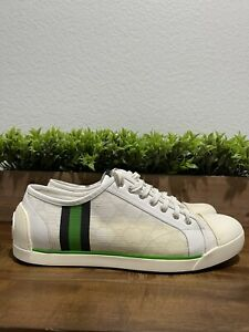 Gucci Plus Gomma Leather/Canvas Sneakers White Green/Blue 191397 Men's Size 9.5