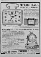 PUBLICITÉ DE PRESSE 1926 STEMBEL SUPERBE RÉVEIL DE LUXE DORÉ SOCLE EN MARBRE