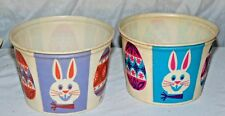 VINTAGE EASTER BUNNY EGGS WAX COTTAGE CHEESE CONTAINERS BASKET Lily Nestrite