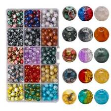 1Box 375pcs 15Color Mixed 8mm Crackle Glass Beads for Jewelry Making Beading Kit