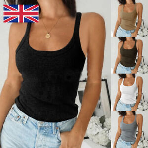 Womens Plain Ribbed Vest Cami Tops Ladies Stretchy Casual Tank Tops Shirts UK