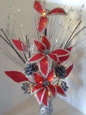 Artificial Silk Flower Arrangement In Silver Red Flowers Silver Glitter Vase