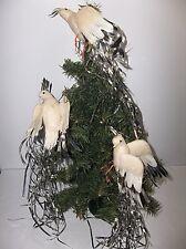 Vintage Spun Cotton DOVE Christmas Tree Ornament SILVER STREAMER TAILS Set Of 3