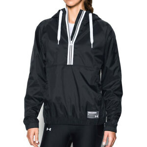 Under Armour Ladies 1/2 Zip Jacket UA Black Woven Hooded Running Top M