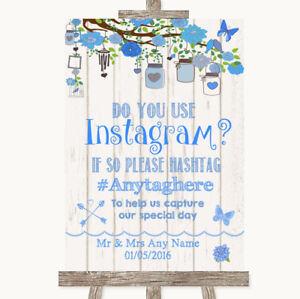 Wedding Sign Poster Print Blue Rustic Wood Instagram Social Media Photo Sharing
