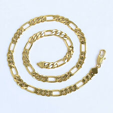 "Chunky Mens Yellow Gold Filled 24"" Figaro Link Chain Necklace - UK Seller - E1"