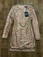 Missguided Rose Gold Sequin Sheer Panel Bodycon Dress UK10 NWT Party Evening A4