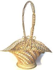 SUPERBE Ancien panier de mariage en fils argentés tressés, Art Nouveau