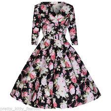Vestiti da donna stile anni'50, rockabilly nero floreale