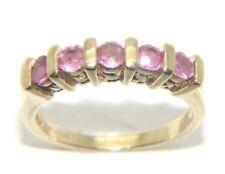 donna da donna 9 carati 9ct oro giallo pietra rosa abito anello misura UK N