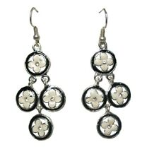 Black Silver Enamel Flower Drop Dangle Hook Earrings Women Ladies Dress Jewelry