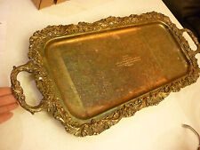 Vintage Sheffield Reed Barton Footed Serving Tray Silver Plate Ornate Celebrity