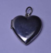 VINTAGE STERLING SILVER PLAIN HEART LOCKET PENDANT FOR NECKLACE