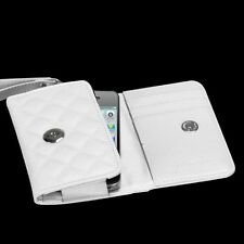 For iPhone 4 4S Quilted Leather Premium Wallet Case Pouch Flip Cover White