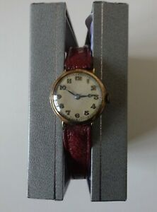 Vintage Watch - VERTEX - 9ct Gold - Leather Strap - Not Working - Scrap Repair