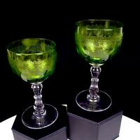 """MOSER BOHEMIAN ETCHED VASELINE GLASS CLEAR WAFER STEM 2 PC 5"""" WINE GLASSES"""