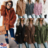 US Women's Button Fluffy Jacket Top Cardigans Winter Warm Jumper Fleece Fur Coat