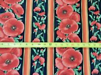 Flower Flowers STRIPE POPPIES C5836 Nice Timeless Treasures Cotton Fabric NICE