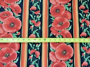RED POPPIES BLACK POPPY FLORAL COTTON FABRIC BTHY