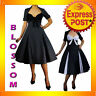 RK39 Pleated Polka Dot Rockabilly Retro Flared Dress Pin Up Swing 50s 40s Retro