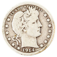 1914-S 25C $.25 BARBER QUARTER, VERY GOOD CONDITION, BEAUTIFUL COIN!