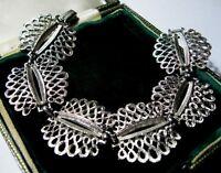"VINTAGE Jewellery Signed CORO Silver Tone Wide Modernist Link 7.5"" Bracelet"