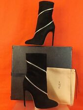 NIB ALAIA BLACK SUEDE SILVER ZIP HIGH HEEL ANKLE BOOTS 37.5 $2360